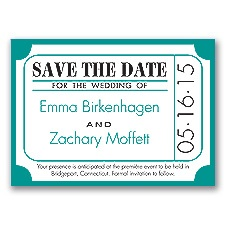 Ticket for Love - Jade - Save the Date Magnet