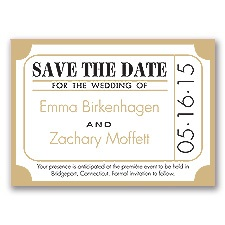 Ticket for Love - Golden - Save the Date Magnet