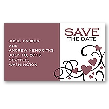 Playful Hearts - Rosewood - Save the Date Magnet