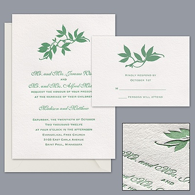 Romantic Foliage - Letterpress Invitation