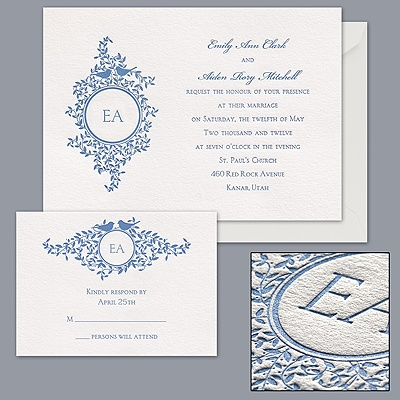 Monogram Birds - Letterpress Invitation