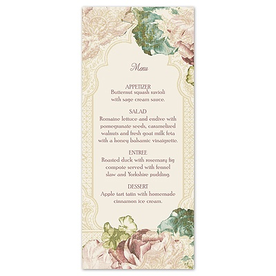 Vintage Blossoms - Menu Card