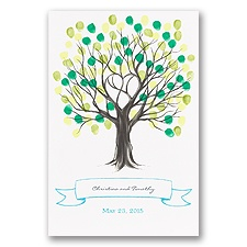 Tree Thumbprint Guest Mat - Guest Book Alternative