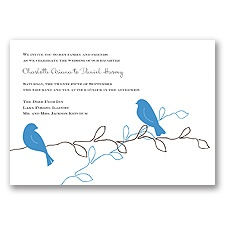 Love Birds - Cornflower - Invitation