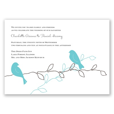 This David 39s Bridal Exclusive invitation card features two colorful birds