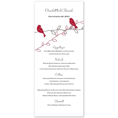 Love Birds - Apple - Menu Card