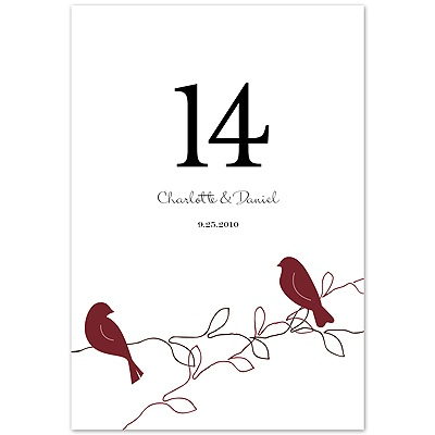 Love Birds - Apple - Table Number