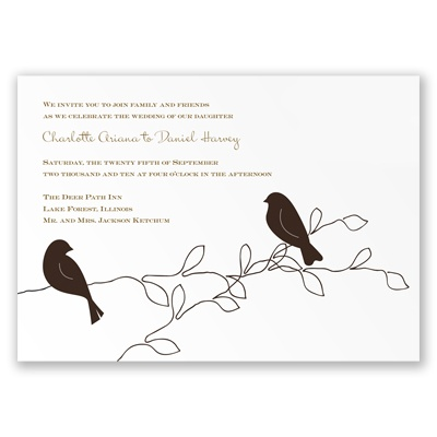 Love Birds Wedding Invitations on Wedding Invitations    Browns    Love Birds   Chocolate   Invitation