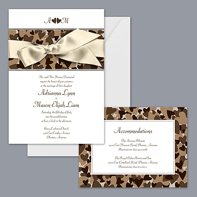 Camo Wedding Bands on Home    Wedding Invitations    Browns    Camo Hearts   Tan