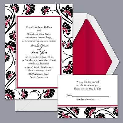 Floral Border - Apple - Invitation