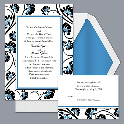 Floral Border - Cornflower - Invitation