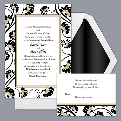 Floral Border - Golden - Invitation