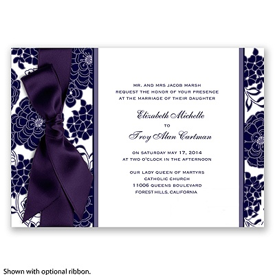 Floral Patterned - Lapis - Invitation