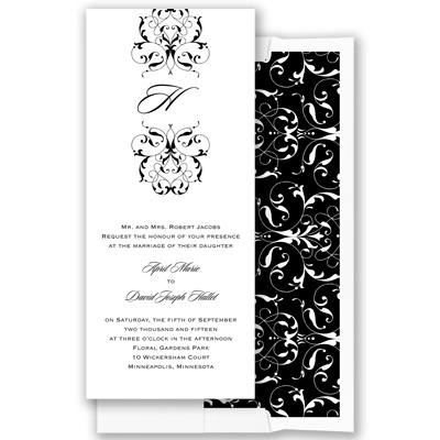 Monogram Flourish - Black - Invitation