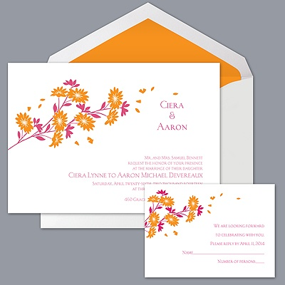 Graceful Petals - Tangerine - Invitation