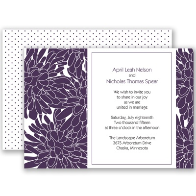 Glorious Blooms - Plum - Invitation
