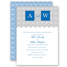 Monogram Pattern - Cornflower - Invitation