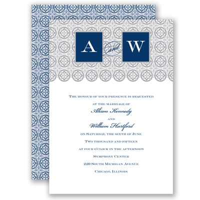 Monogram Pattern - Marine - Invitation