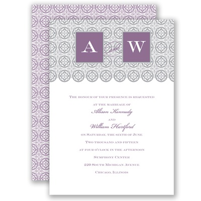 Monogram Pattern - Wisteria - Invitation