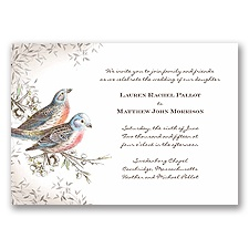 Vintage Birds - Chocolate - Invitation