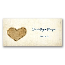 Burlap Heart - Escort Card
