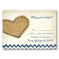 Burlap Heart - Response Card and Envelope