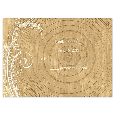Woodgrain Circle - Response Card and Envelope