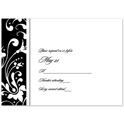 Fancy Flourish Photo - Black - Response Card and Envelope