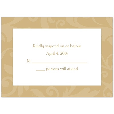 Treasured Jewels Pattern - Golden - Response Card and Envelope
