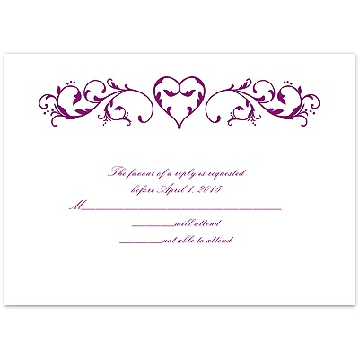Imperial Filigree Heart - Response Card and Envelope