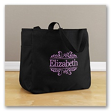 Personalized Baroque Tote Bag - Black
