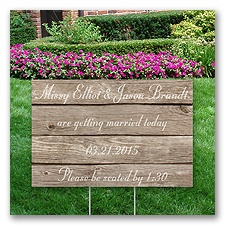 Personalized Wood Grain Yard Sign - Small
