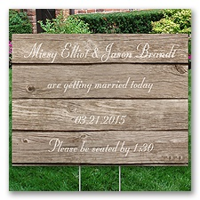 Personalized Wood Grain Yard Sign - Medium