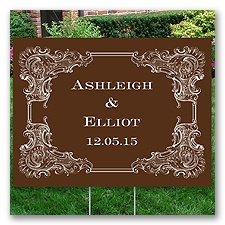 Personalized Vintage Border Yard Sign - Medium