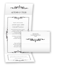 Bordered Elegance Seal and Send - Black - Invitation