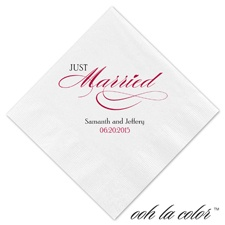 Beverage White Napkin - Just Married