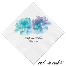 Beverage White Napkin - Blooms in Blues
