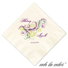 Beverage Ecru Napkin - Garland of Purple/Green
