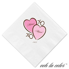 Luncheon White Napkin - Pretty Hearts