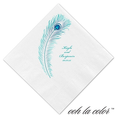 Luncheon White Napkin - Peacock