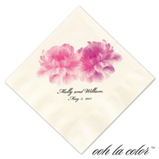 Luncheon Ecru Napkin - Blooms in Pinks