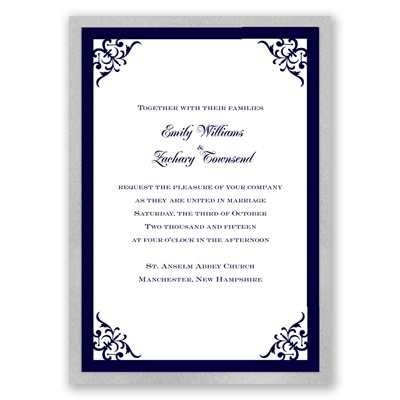 Imperial Contour Border - Silver Invitation