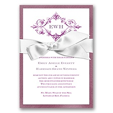 Imperial Deco Monogram - Amethyst Invitation with Ribbon