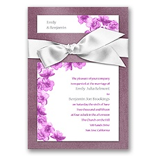 Treasured Jewels Floral - Amethyst & Bright White Invitation