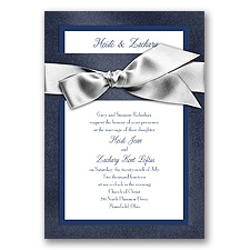Treasured Jewels Border - Sapphire & Bright White Invitation