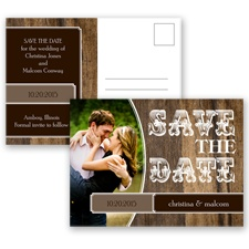 Rodeo Romance - Chocolate - Save the Date Postcard