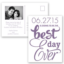 Best Day Ever - Wisteria - Save the Date Postcard