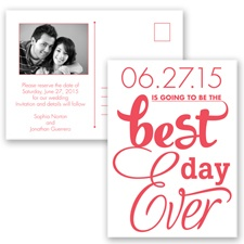 Best Day Ever - Guava - Save the Date Postcard