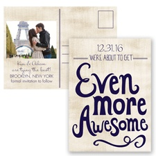 Awesome Couple - Lapis - Save the Date Postcard