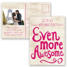 Awesome Couple - Watermelon - Save the Date Postcard